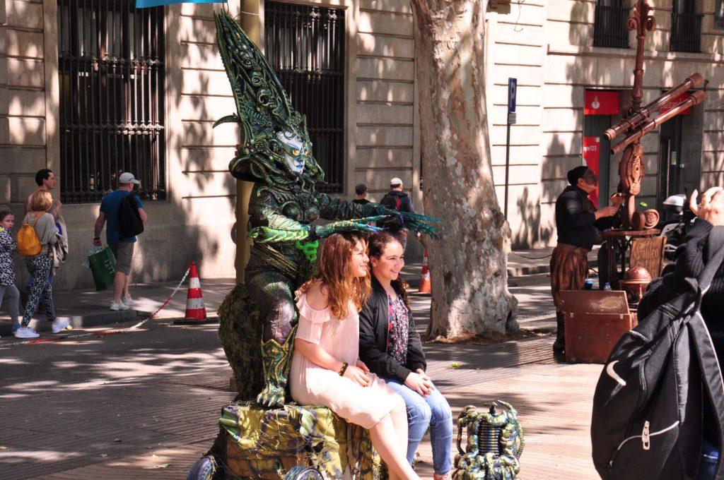 stree performer on the rambla barcelona